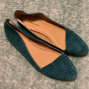 Lucky Brand Teal Pointed Toe Asymmetrical Flats